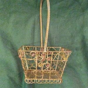 Antique wire basket with bead work